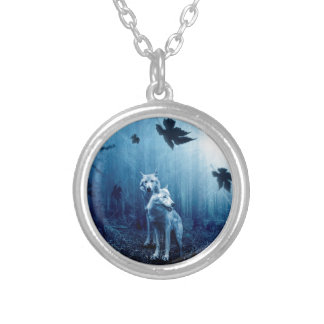 Wolf Dark Autumn Forest Silver Plated Necklace