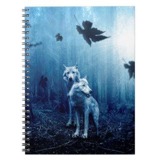 Wolf Dark Autumn Forest Spiral Notebook