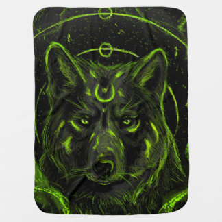 Wolf design graphic cool anime look baby blanket