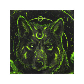 Wolf design graphic cool anime look canvas print