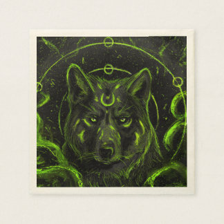 Wolf design graphic cool anime look disposable napkins