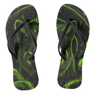 Wolf design graphic cool anime look flip flops