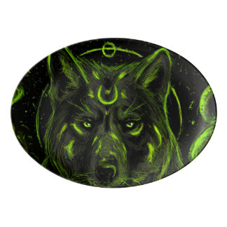 Wolf design graphic cool anime look porcelain serving platter