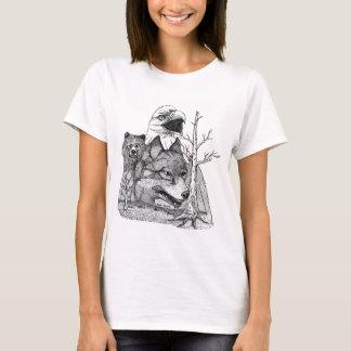 Wolf Dog Bear Eagle T-shirt