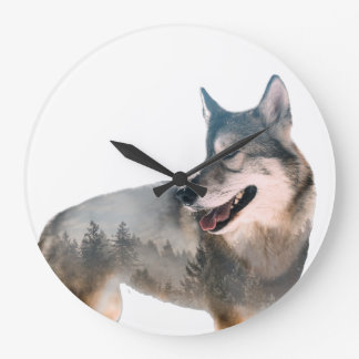 Wolf Double Exposure Large Clock