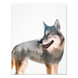 Wolf Double Exposure Photo Print