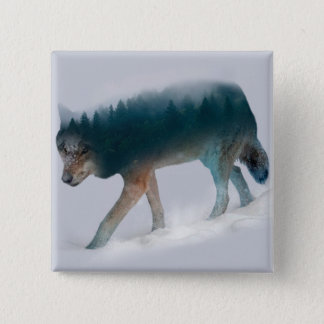 Wolf double exposure - wolf forest - wolf usa 2 inch square button