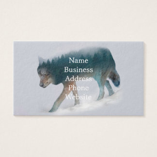 Wolf double exposure - wolf forest - wolf usa business card
