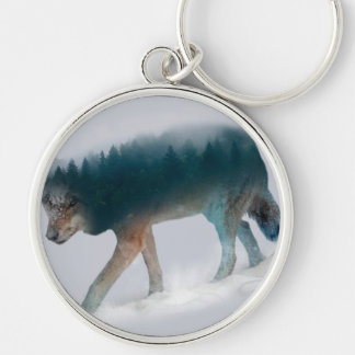 Wolf double exposure - wolf forest - wolf usa keychain