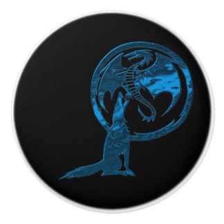 Wolf & Dragon Blue black ceramic knob