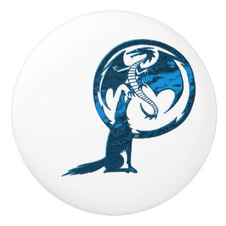 Wolf & Dragon Blue ceramic knob