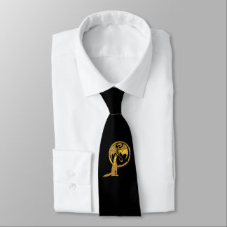 Wolf & Dragon Gold black business tie (2-sided)