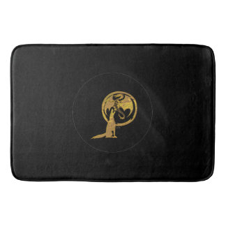 Wolf & Dragon Gold large black bath mat