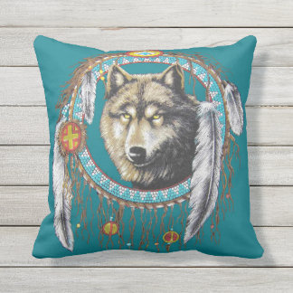 Wolf Dreamcatcher Outdoor Pillow