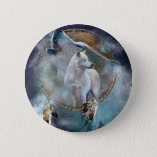 Wolf dreamcatcher - white wolf  - wolf art 2 inch round button