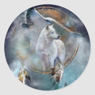 Wolf dreamcatcher - white wolf  - wolf art classic round sticker