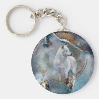 Wolf dreamcatcher - white wolf  - wolf art keychain