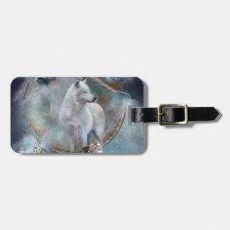 Wolf dreamcatcher - white wolf  - wolf art luggage tag