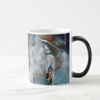 Wolf dreamcatcher - white wolf  - wolf art magic mug