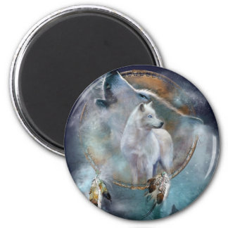 Wolf dreamcatcher - white wolf  - wolf art magnet