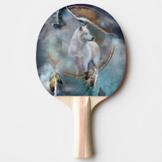 Wolf dreamcatcher - white wolf  - wolf art ping pong paddle
