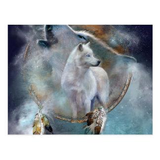 Wolf dreamcatcher - white wolf  - wolf art postcard