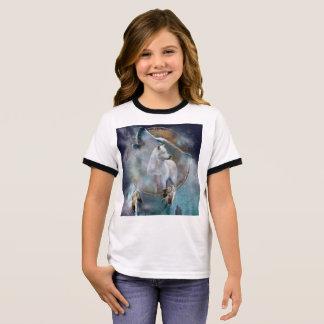 Wolf dreamcatcher - white wolf  - wolf art ringer T-Shirt