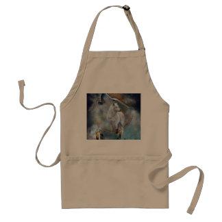 Wolf dreamcatcher - white wolf  - wolf art standard apron