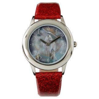 Wolf dreamcatcher - white wolf  - wolf art watch