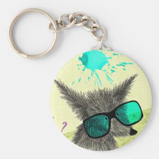 Wolf Dude Basic Round Button Keychain