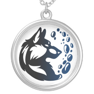 Wolf Element Tribal -Water- Silver Plated Necklace