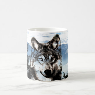 Wolf face coffee mug