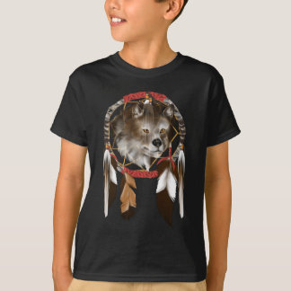 Wolf Face in Dream Catcher T-Shirt
