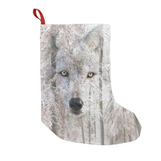 Wolf face in snow woods small christmas stocking