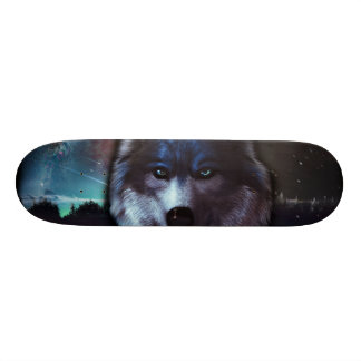 Wolf face in space,Blue wolf painting Skateboards