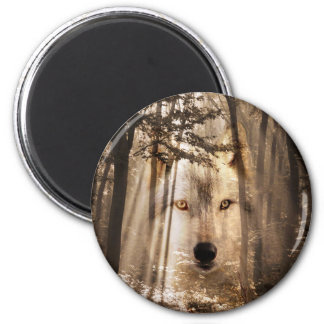 Wolf face in the woods 2 inch round magnet