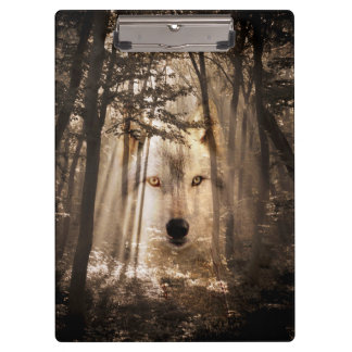 Wolf face in the woods clipboard