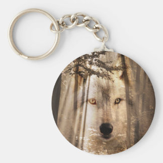 Wolf face in the woods keychain