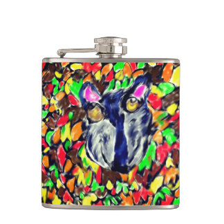 wolf fall art 2 hip flask