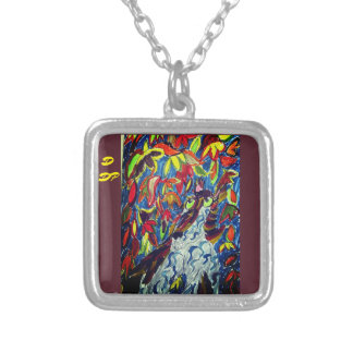 Wolf fall art silver plated necklace