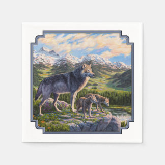 Wolf Family and River Valley Disposable Napkin