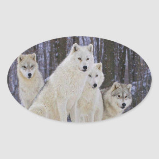 Wolf Family Oval Sticker