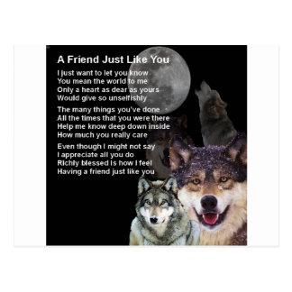 Wolf - Friend Poem Postcard