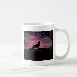wolf full moon coffee mug