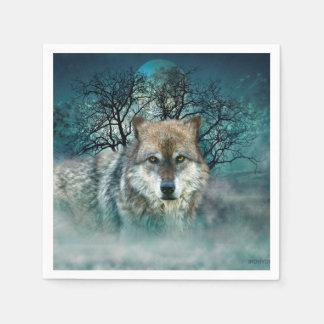 Wolf Full Moon in Fog Paper Napkin