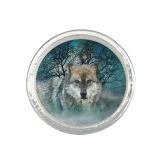 Wolf Full Moon in Fog Rings