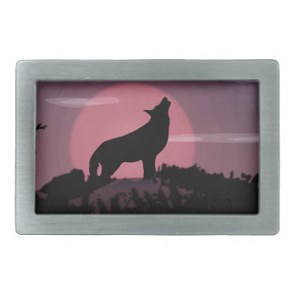 wolf full moon rectangular belt buckles