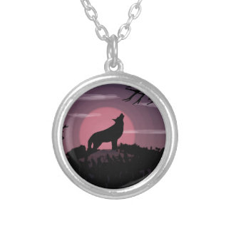 wolf full moon silver plated necklace