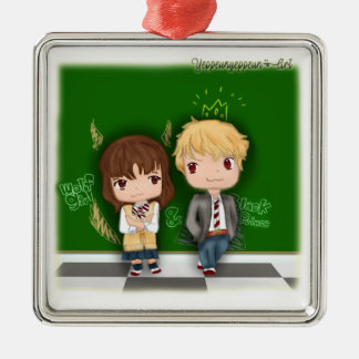 Wolf girl & Black prince ~ Erika x Kyouya Silver-Colored Square Ornament