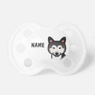 Wolf Grey  Alaskan Malamute Cartoon Dog Pacifier